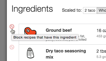 You can block individual recipes and ingredients for fine grain control